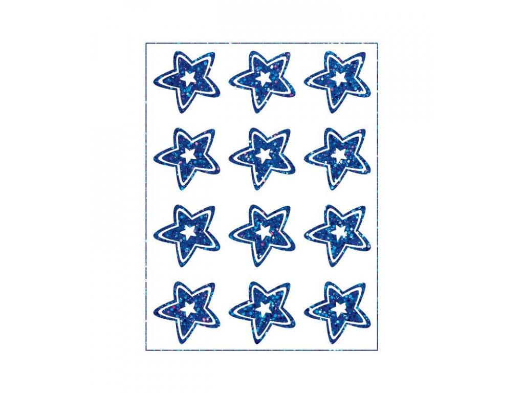Třpytivý nažehlovací potisk - Hvězdy, modré