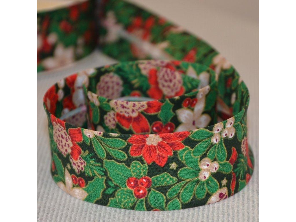 0,5 m šikmý proužek vánoční růže na zelené 30 mm (bavlna)