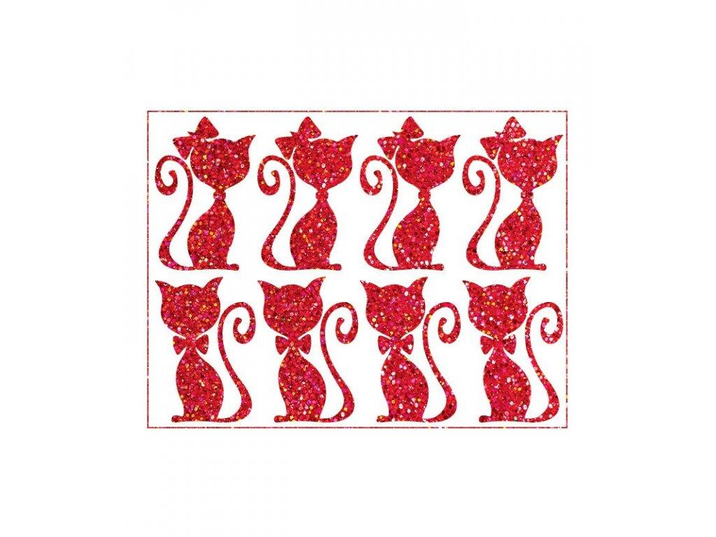 Třpytivý nažehlovací potisk - Kočičí pár, červený