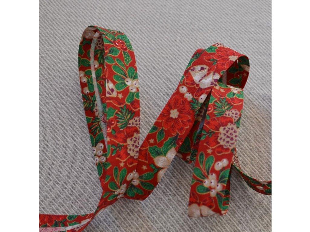0,5 m šikmý proužek zažehlený vánoční růže na červené 18 mm (bavlna)