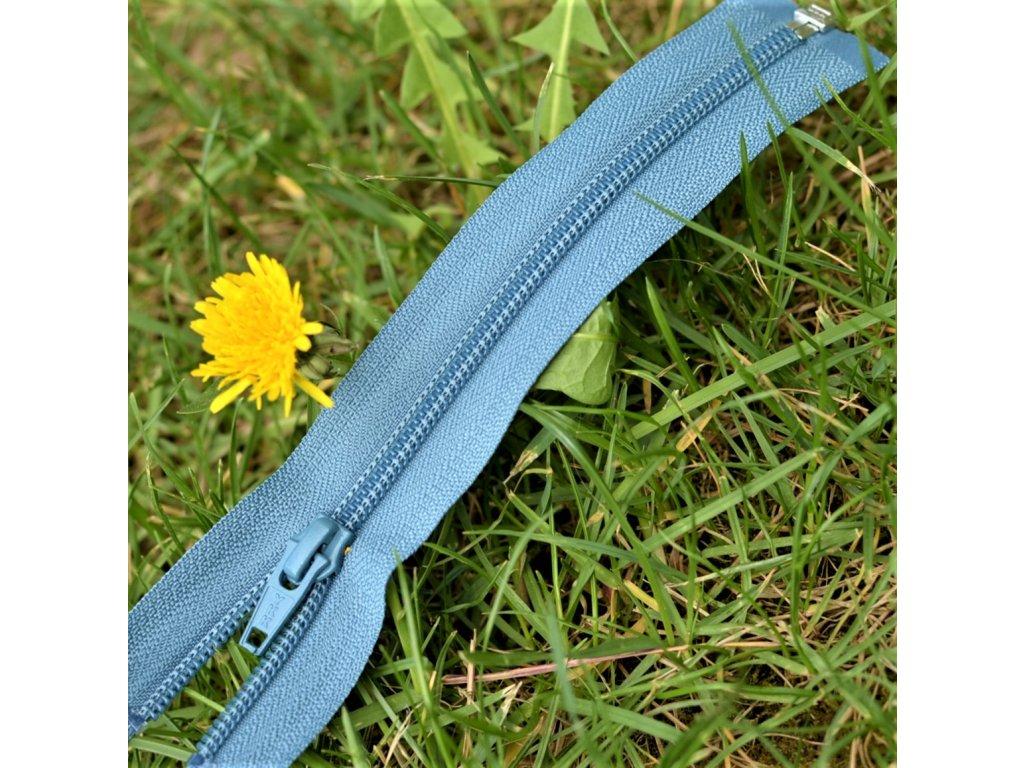 dělitelný spirálový zip YKK - 56 cm, modrošedý