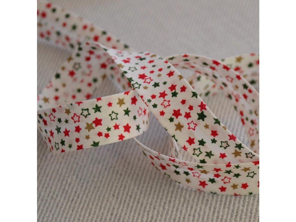 0,5 m šikmý proužek zažehlený hvězdičky na bílé 18 mm (bavlna)