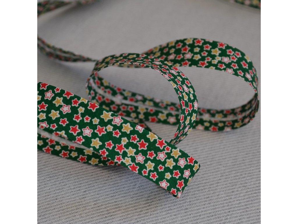 0,5 m šikmý proužek zažehlený hvězdičky na zelené 18 mm (bavlna)