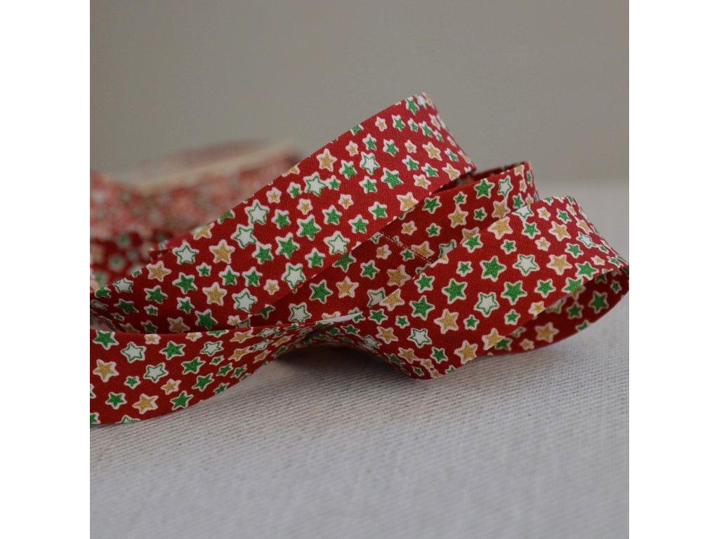 0,5 m šikmý proužek zažehlený hvězdičky na červené 18 mm (bavlna)