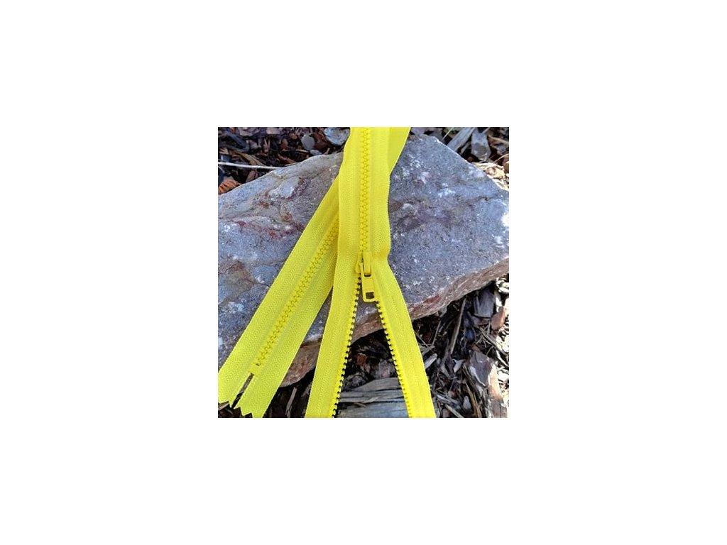 nedělitelný kostěný zip YKK - 55 cm, citrónová žlutá