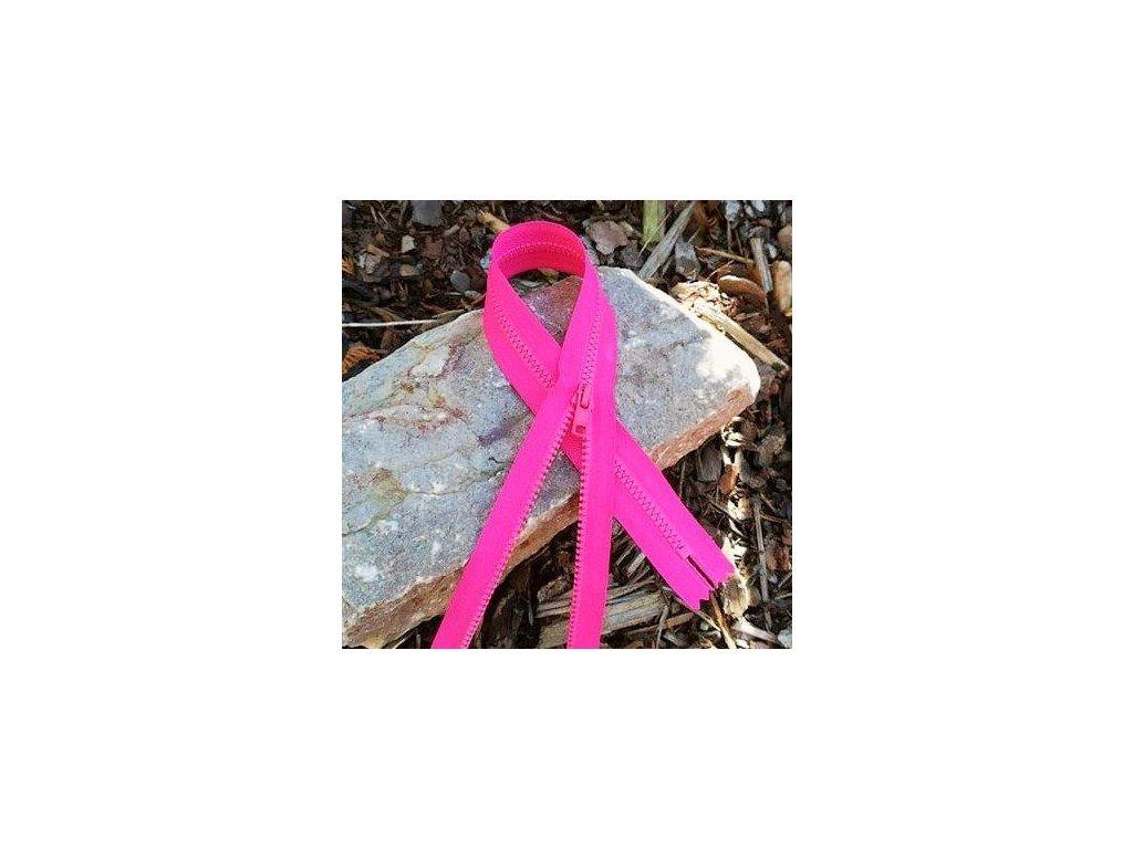 nedělitelný kostěný zip YKK - 35 cm, růžový