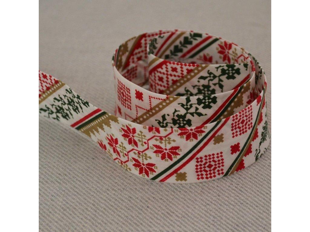0,5 m šikmý proužek zažehlený vánoční severský styl 30 mm (bavlna)