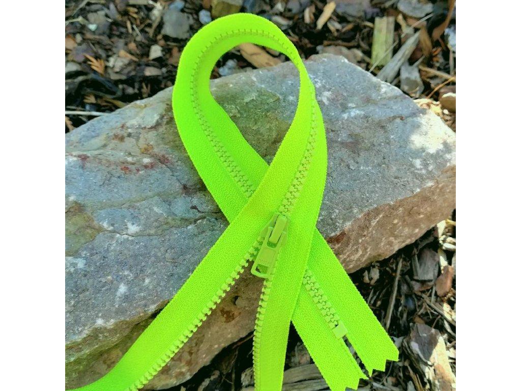 nedělitelný kostěný zip YKK - 55 cm, zářivě zelená