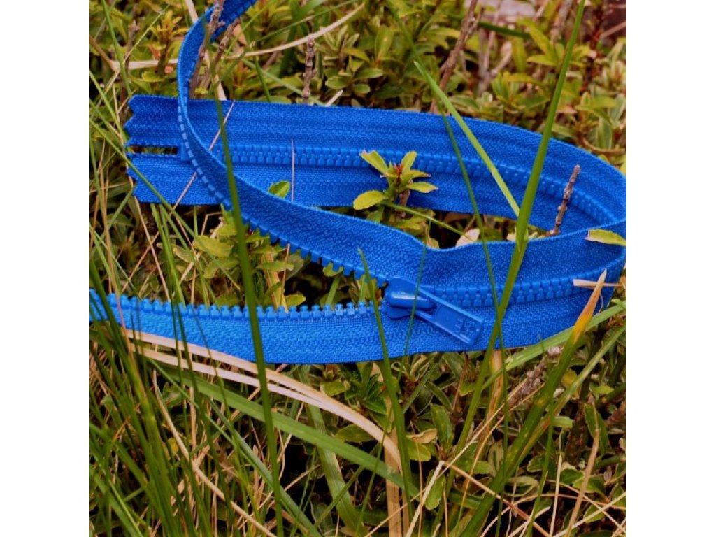 nedělitelný kostěný zip YKK - 55 cm, modrá