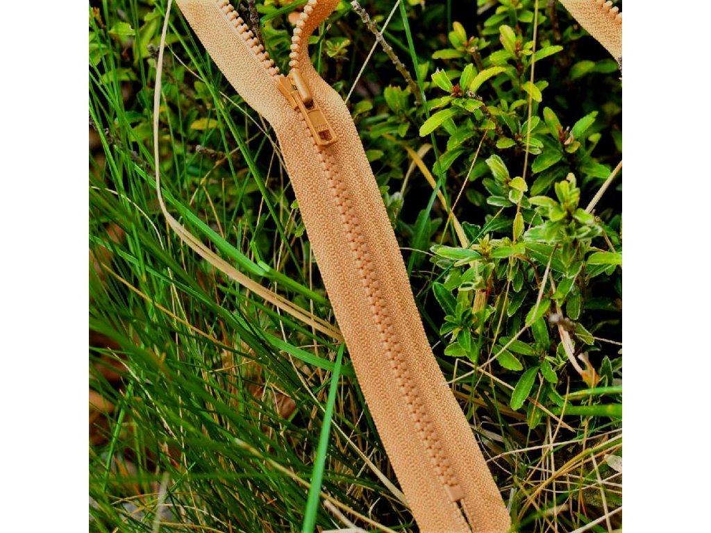 nedělitelný kostěný zip YKK - 35 cm, okrová