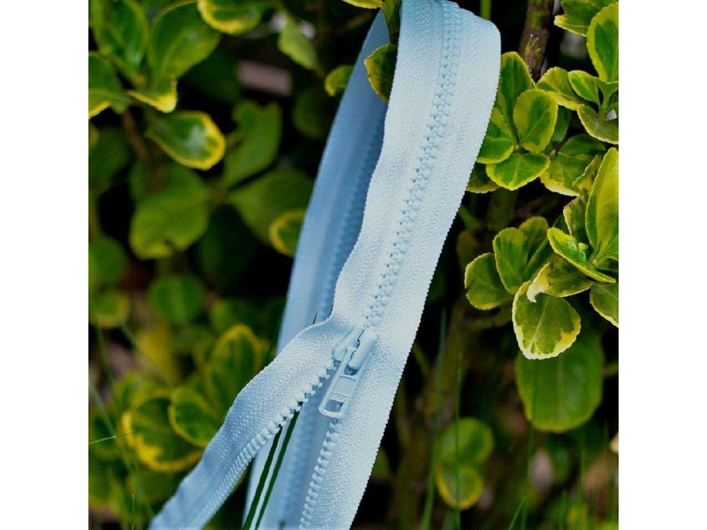 nedělitelný kostěný zip YKK - 55 cm, světle modrá