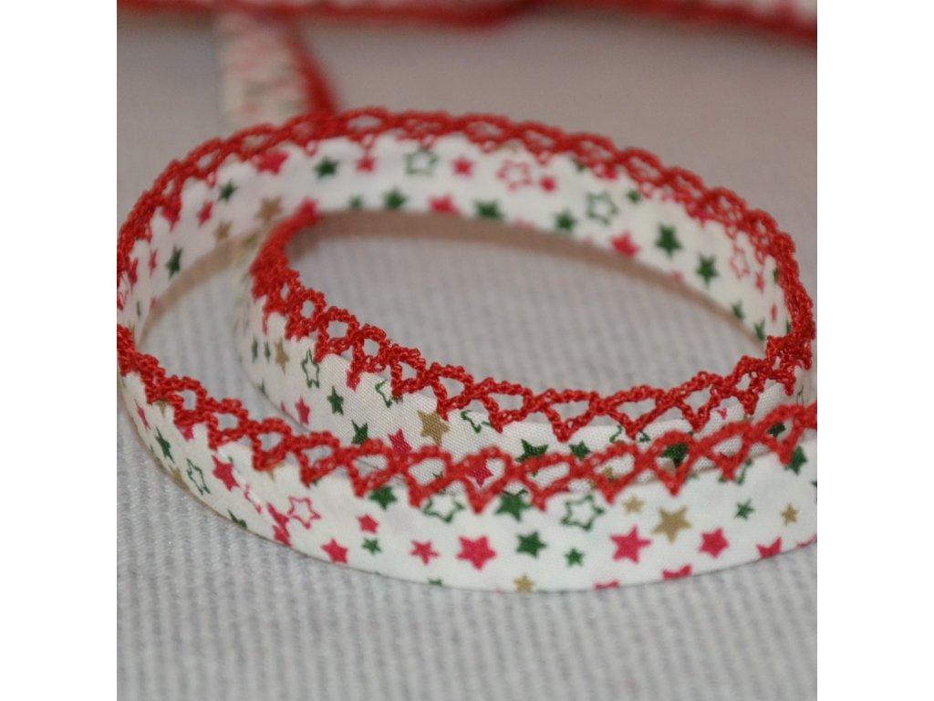 0,5 m paspule hvězdičky na bílé červený dekor 12 mm
