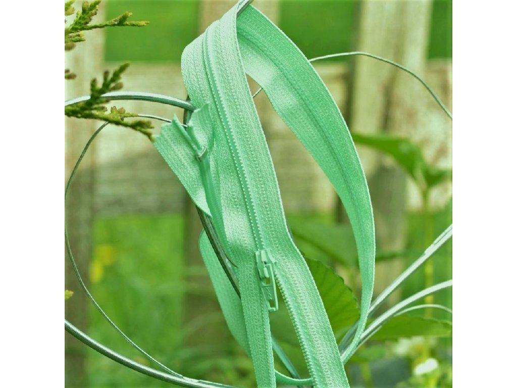nedělitelný spirálový zip YKK vel. 3 - 40 cm, světle zelená