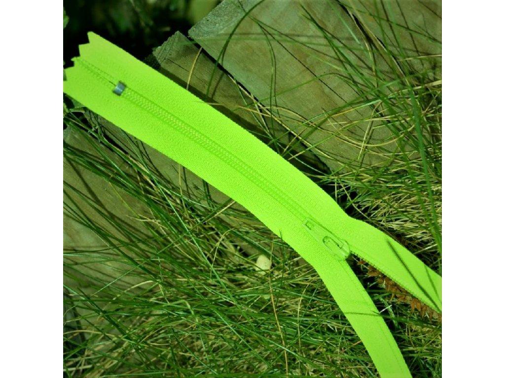 nedělitelný spirálový zip YKK vel. 3 - 20 cm, zářivě zelená