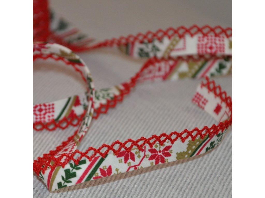 0,5 m paspule vánoční severský vzor 12 mm (bavlna)