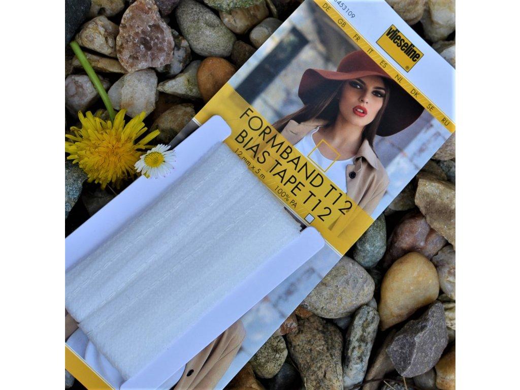 vlizelínový pásek s nitkou (osnovou) bílý 12 mm - balení 5 m