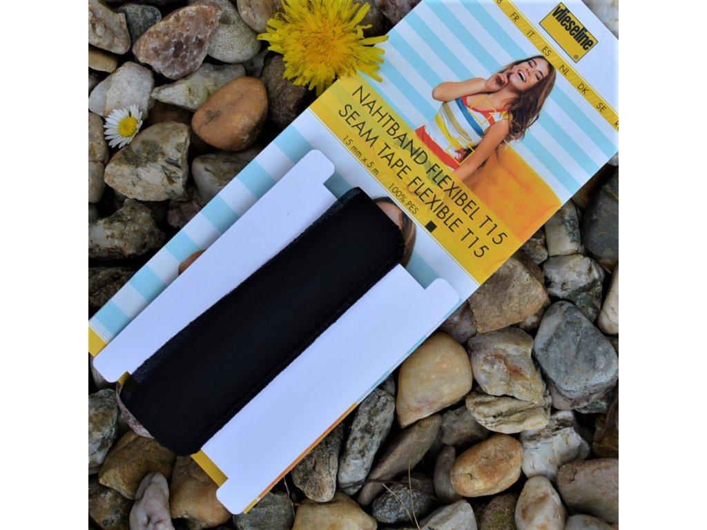 zažehlovací pásek na pružné látky šířka 15 mm černý - balení 5 m