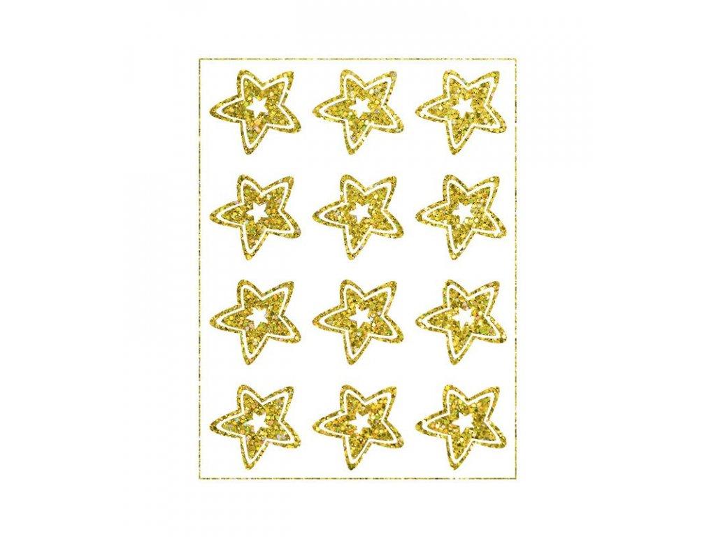 Třpytivý nažehlovací potisk - Hvězdy, zlaté