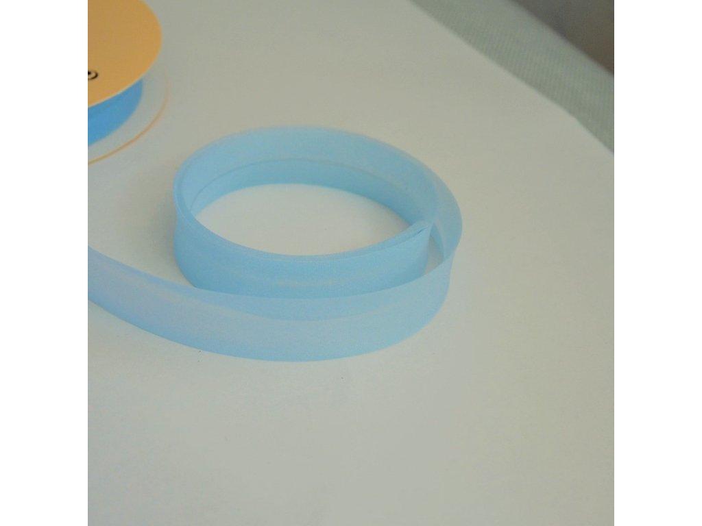 0,5 m šikmý proužek zažehlený modrý 18 mm (organza)