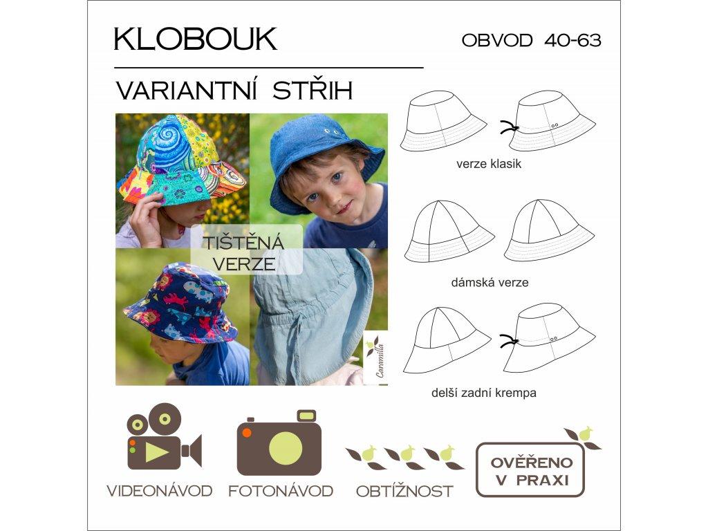 klobouk 40 - 63 cm - tištěný střih Caramilla