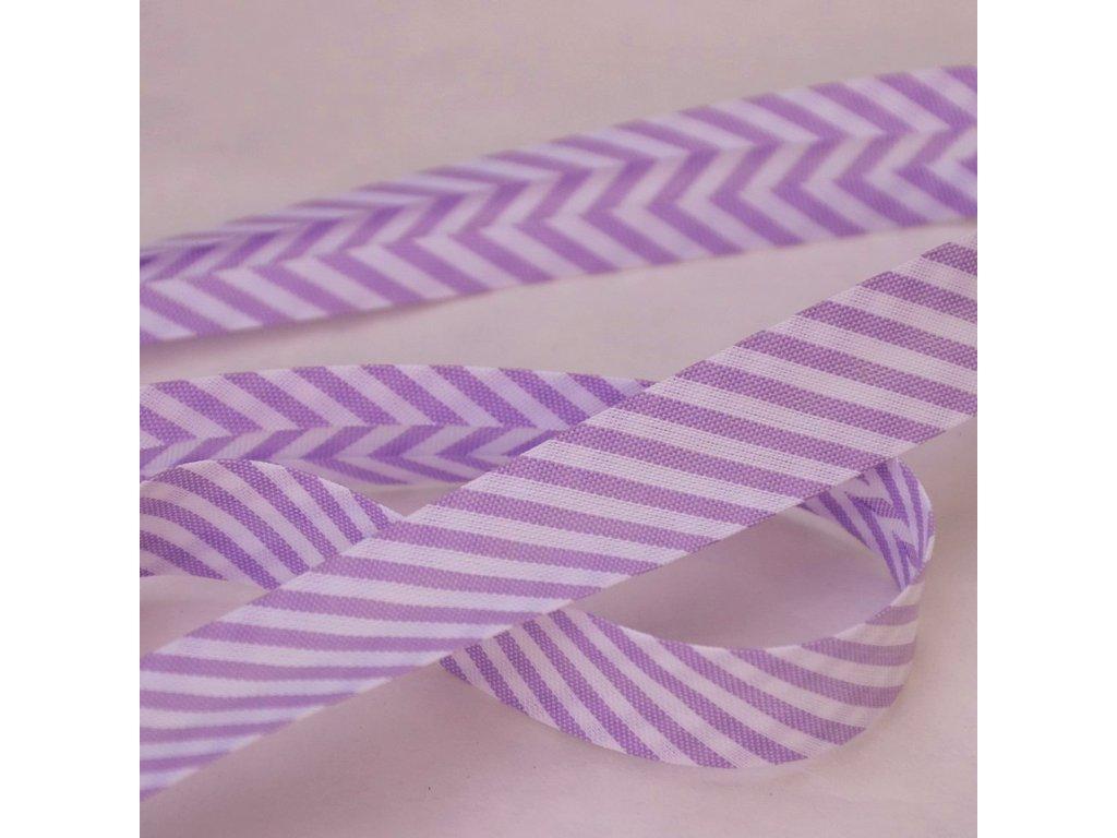 0,5 m šikmý proužek proužky fialovobílé 18 mm (bavlna/polyester)