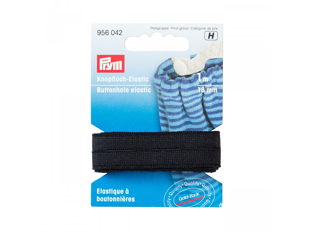 elastická pruženka s knoflíkovými dírkami 18 mm PRYM,  černá, 1m