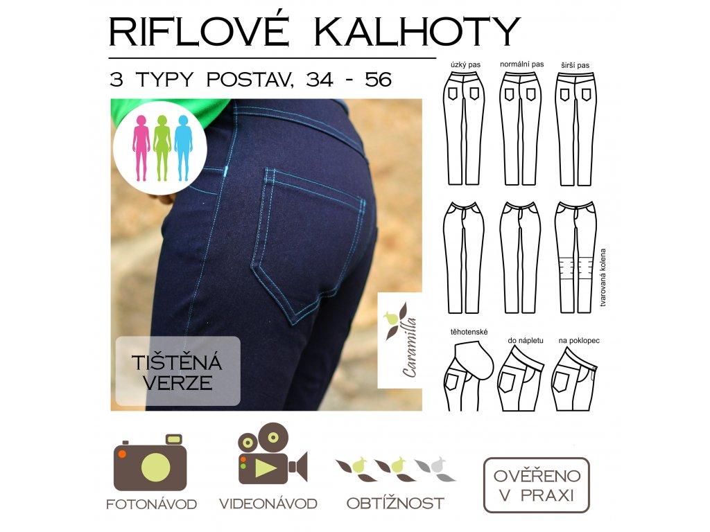 riflové kalhoty vel. 34 - 56, 3 typy postav - tištěný střih Caramilla