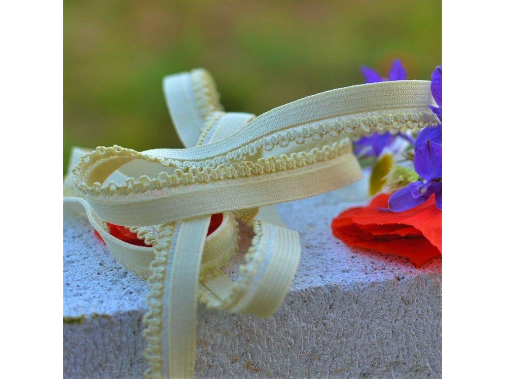 0,5 m ozdobná lemovací pruženka obloučky vanilla 10 mm