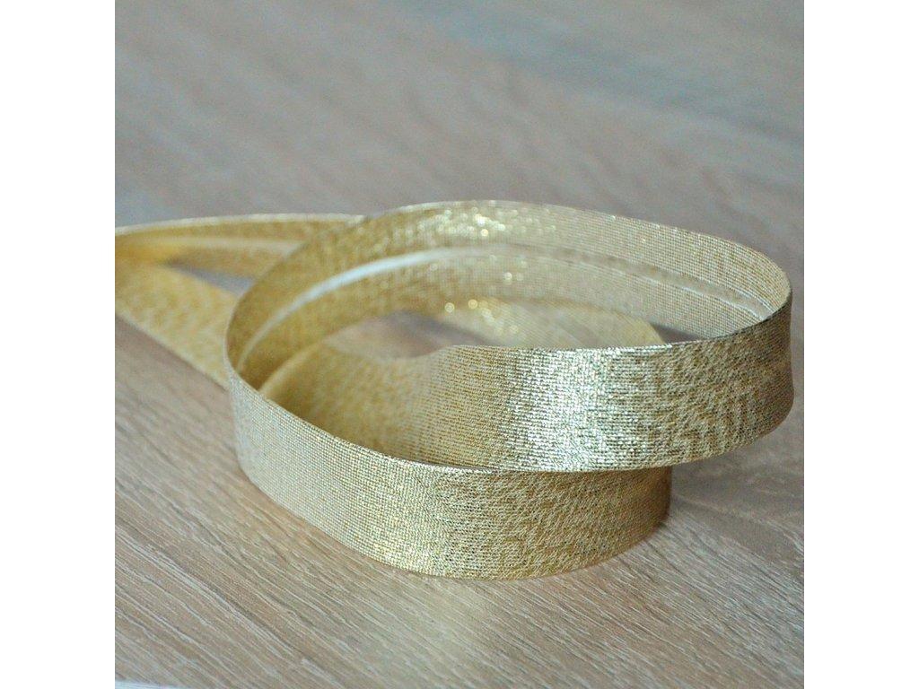 0,5 m šikmý proužek metalický zlatý 18 mm (polyester/lamé)