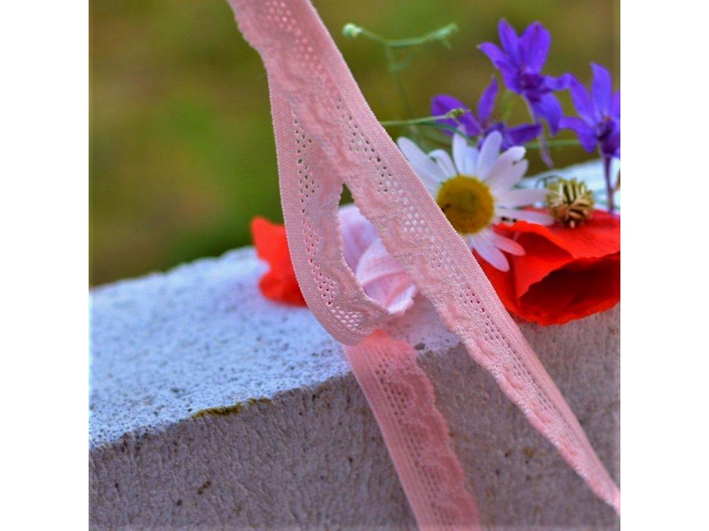 0,5 m ozdobná pruženka s krajkou růžová 13 mm