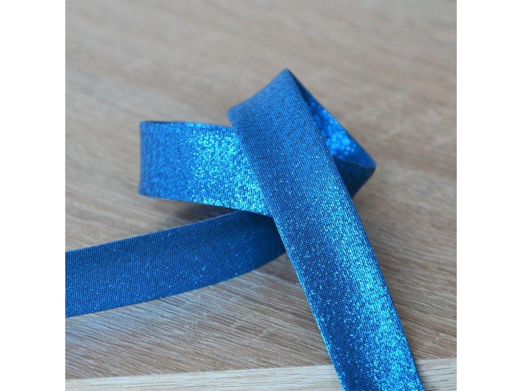 0,5 m šikmý proužek metalický modrý 18 mm (polyester/lamé)