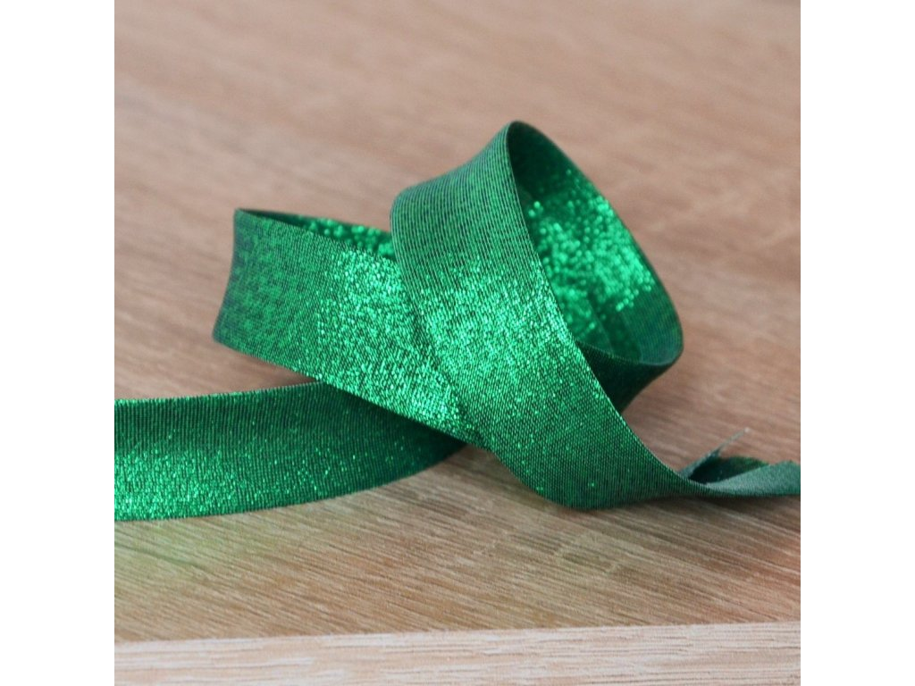 0,5 m šikmý proužek metalický zelený 18 mm (polyester/lamé)
