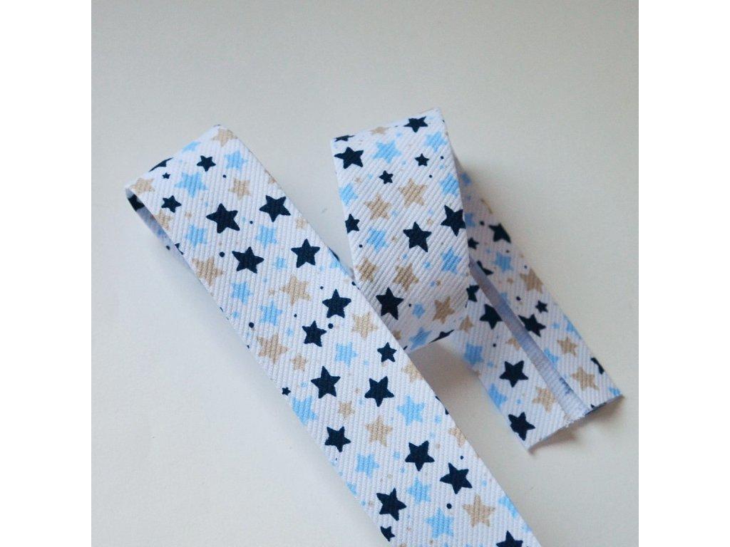 0,5 m šikmý proužek hvězdičky modré 30 mm (bavlna/polyester)