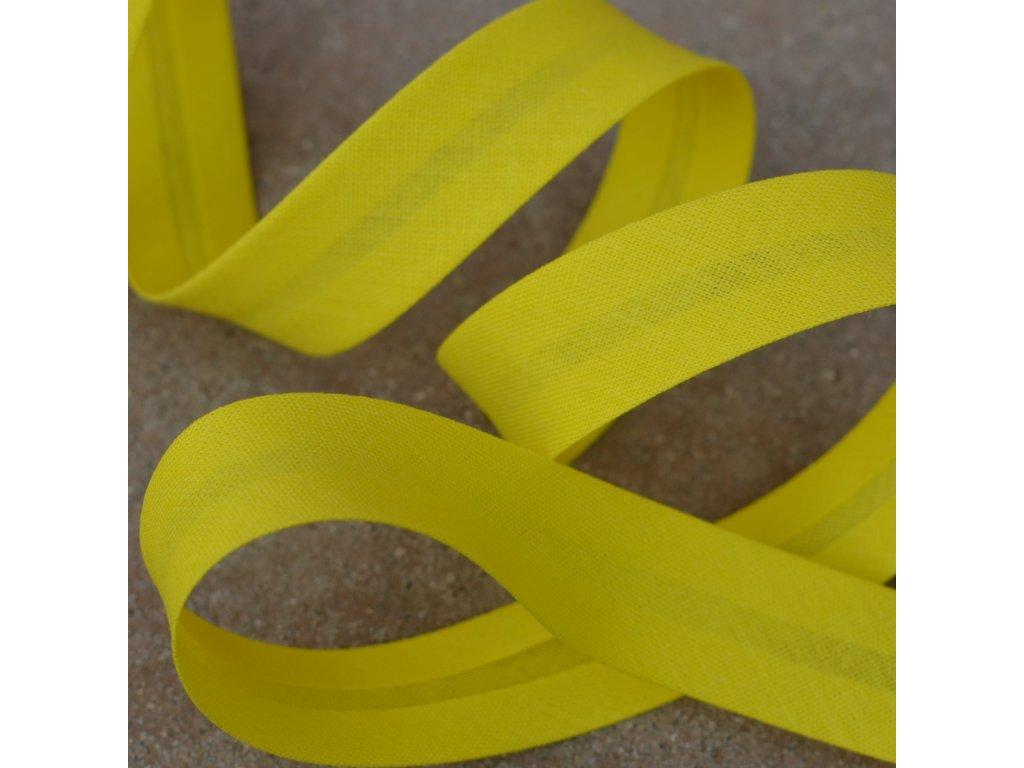 0,5 m šikmý proužek zažehlený žlutý 18 mm (bavlna/polyester)