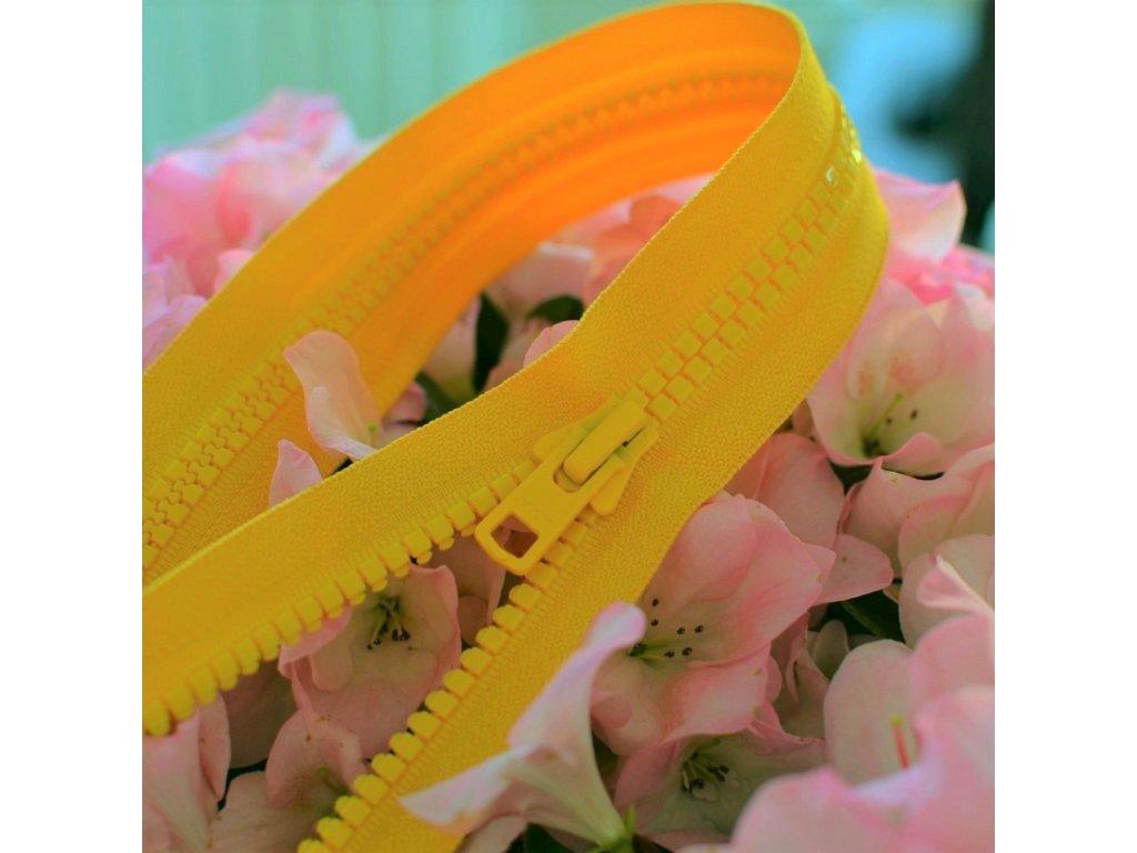 dělitelný kostěný zip YKK velikost 8 - 150 cm, teplejší žlutá