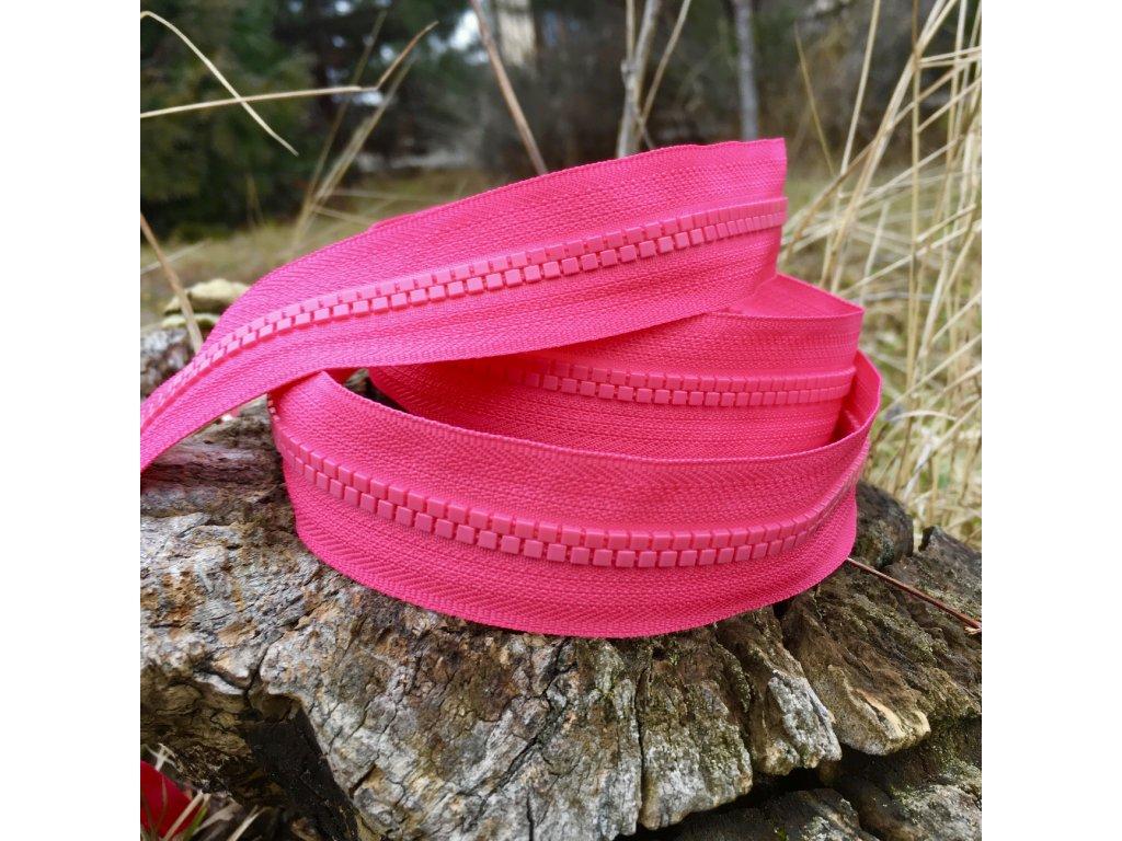 dělitelný kostěný zip YKK - 150 cm, růžový
