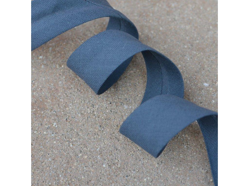 0,5 m šikmý proužek zažehlený tmavě šedý 18 mm (bavlna/polyester)