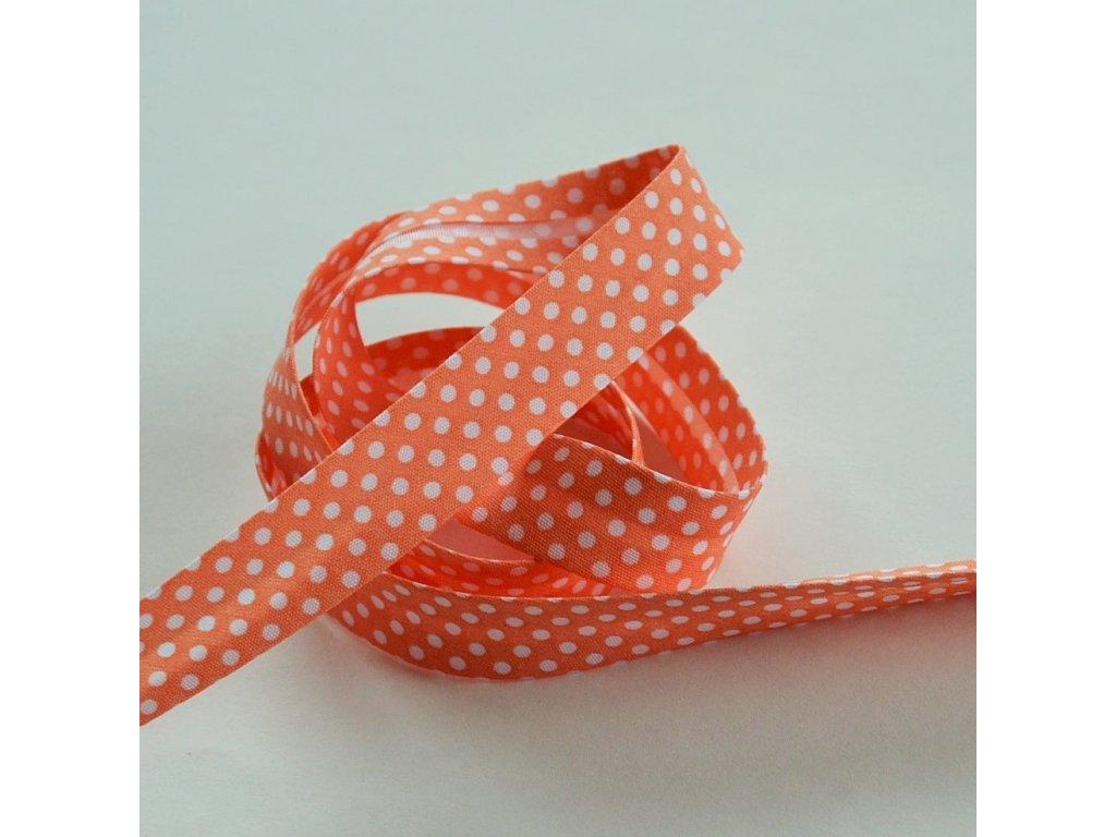 0,5 m šikmý proužek lososový s puntíky 18 mm (bavlna/polyester)