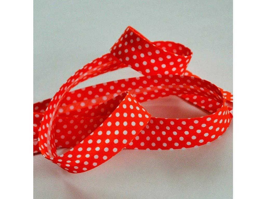0,5 m šikmý proužek oranžový s puntíky 18 mm (bavlna/polyester)