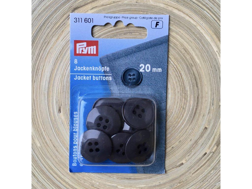Prym plášťové knoflíky kulaté 20 mm, grafitové, 8 ks