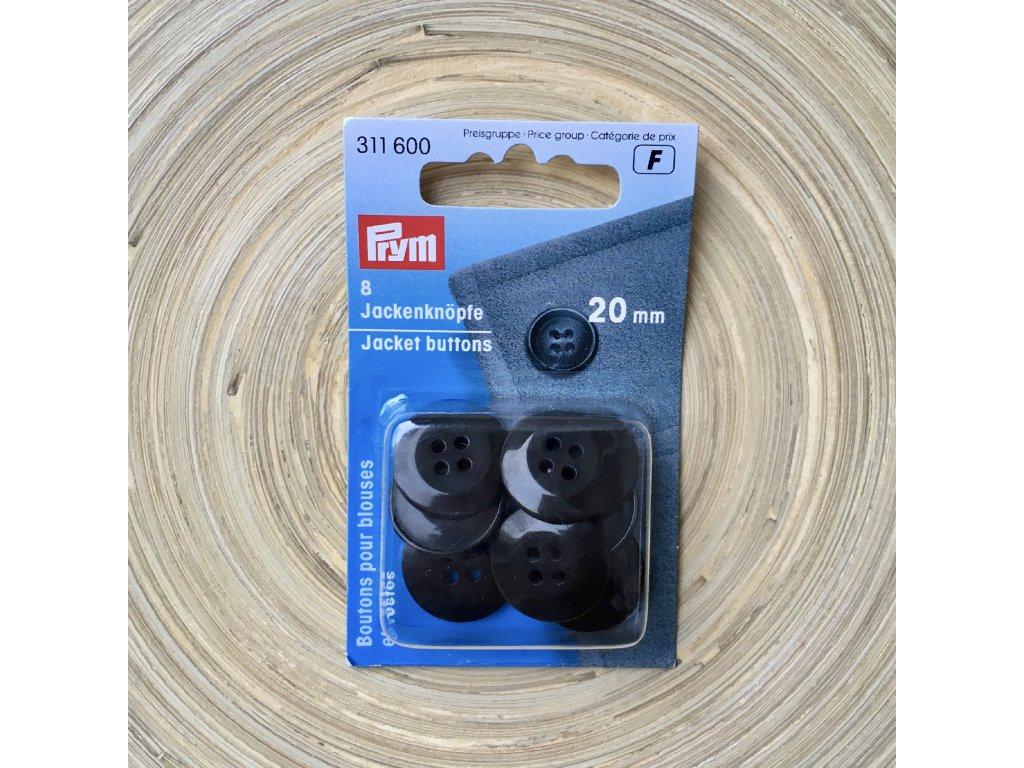 Prym plášťové knoflíky kulaté 20 mm, černé, 8 ks