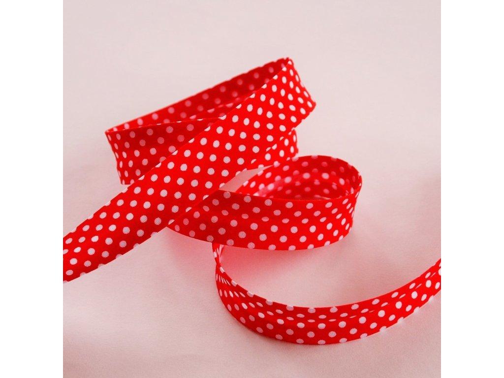 0,5 m šikmý proužek červený s puntíky 18 mm (bavlna/polyester)