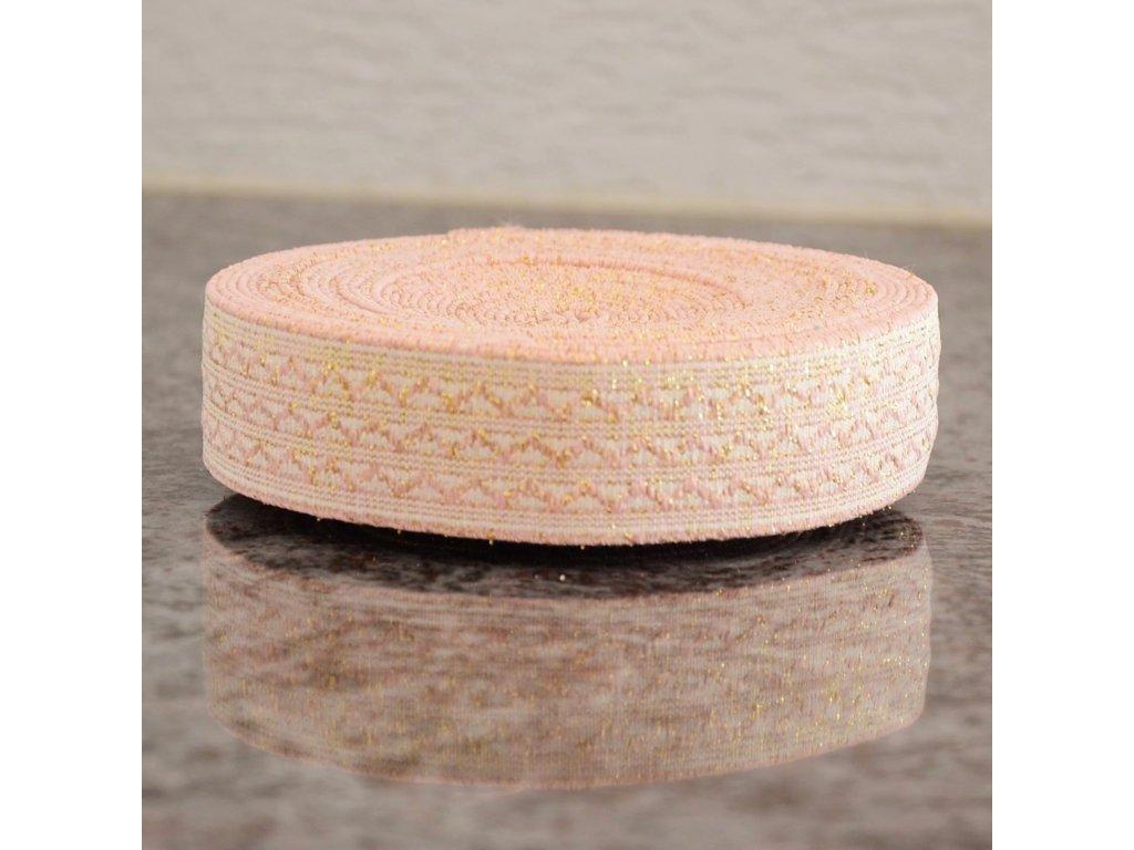 115 cm guma do pasu růžové vlnovky na bílé 30 mm