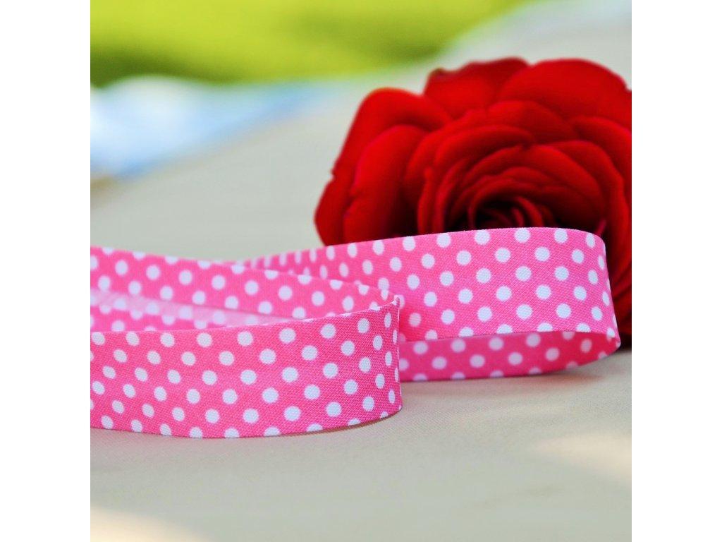 0,5 m šikmý proužek růžový s puntíky 18 mm (bavlna/polyester)
