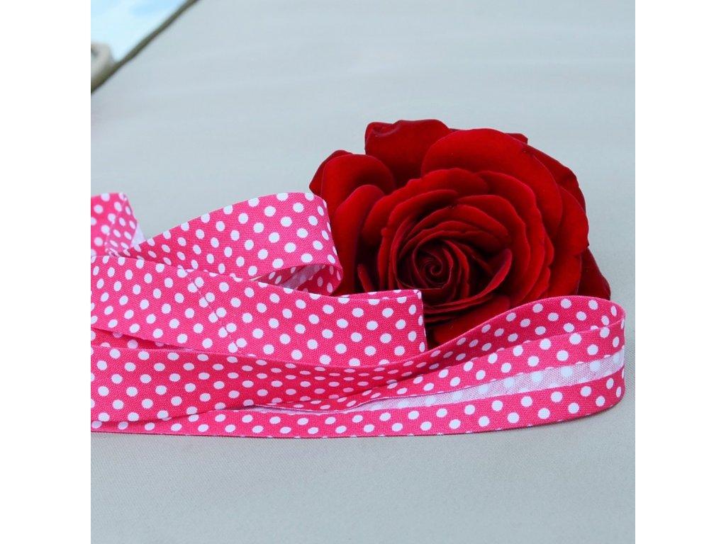 0,5 m šikmý proužek sytě růžový s puntíky 18 mm (bavlna/polyester)
