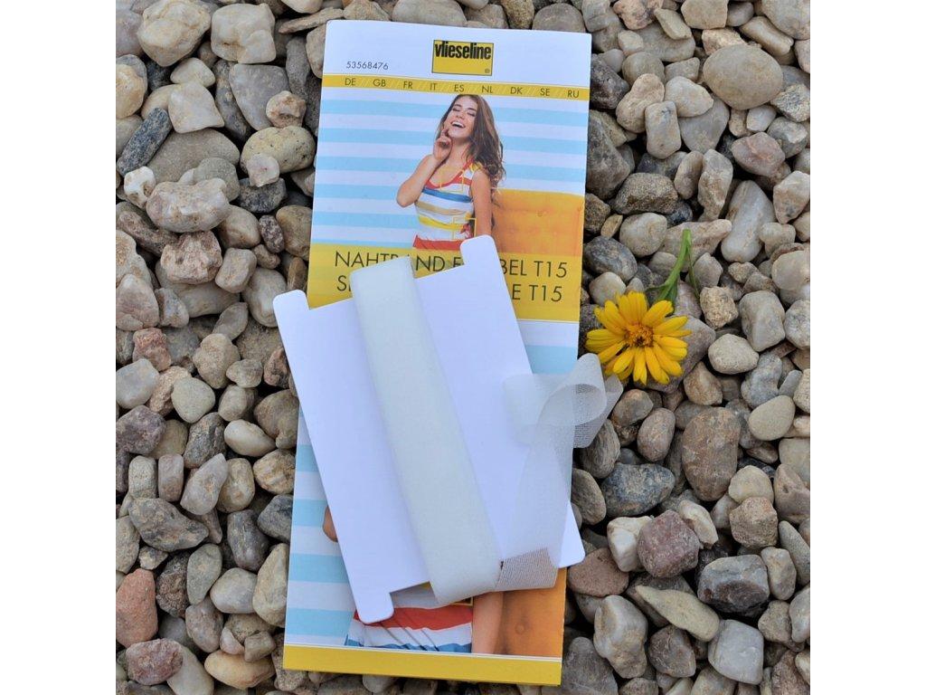 zažehlovací pásek na pružné látky šířka 15 mm bílý - balení 5 m