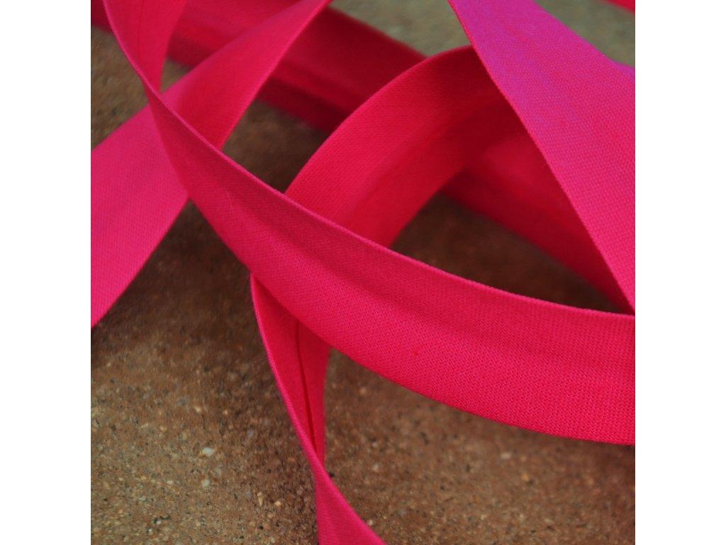 0,5 m bavlněný šikmý proužek fuchsiově růžový 18 mm