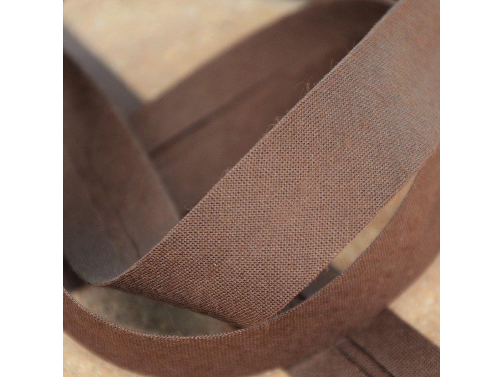 0,5 m šikmý proužek tmavě hnědý 18 mm (100% bavlna)