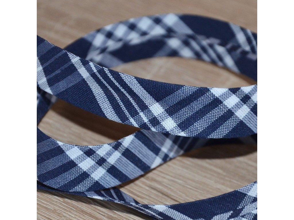 0,5 m šikmý proužek tartan kostičky modrobílé 18 mm (bavlna/polyester)