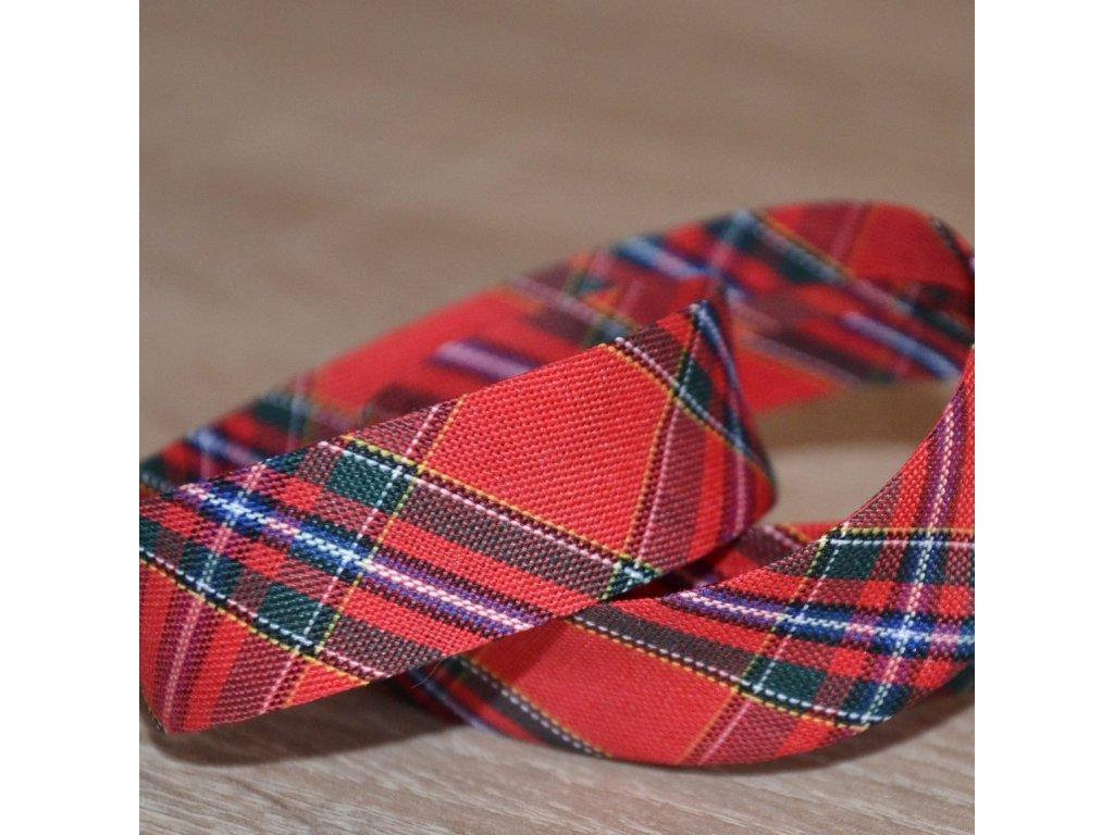 0,5 m šikmý proužek tartan kostičky červené 18 mm (bavlna/polyester)